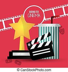 going to cinema film clapper strip award soda with straw