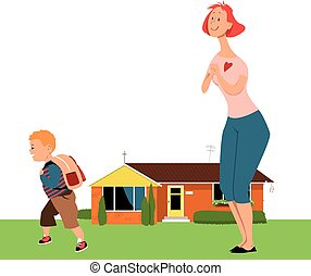 Going to school for the first time - Affectionate mother ...