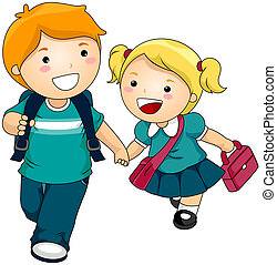 Siblings going to School with Clipping Path