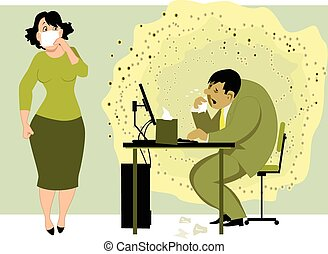 Sick man with a cloud of viruses around him sitting in the office at the computer, scared female colleauge holding a face mask to her nose, vector illustration