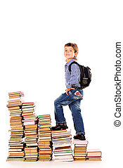 going up - A boy climbing the stairs of books. Education. ...