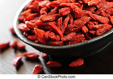 Full bowl of red dried goji berries