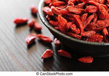 Goji berries - Full bowl of red dried goji berries