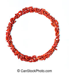 Goji berries in circle shape, space for text