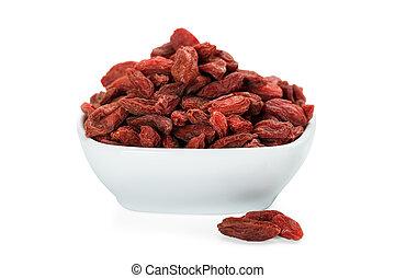 Goji Berries In White Bowl