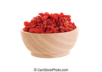 Goji berries in wooden bowl isolated on white background