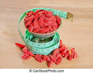 goji berries with a measuring meter