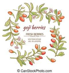 goji berries vector set on white background