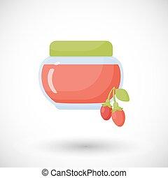 Goji berry jam vector flat icon, Flat design of superfood,...