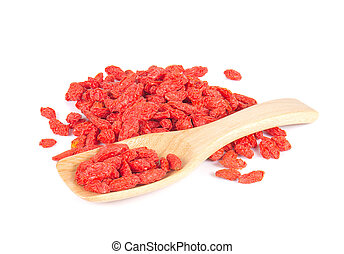 Goji Berry, Wooden spoon on white background.