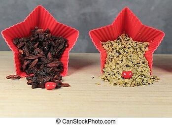 goji, cânhamo, sementes, bagas