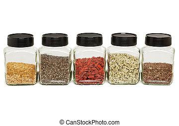 goji, linho, sementes, chia, cânhamo