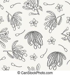 goji, monochrome, contour, schéma structure, seamless, arrière-plan., dessiné, toile fond., emballage, illustration, main, baies, fleurs, impression, papier peint, naturel, papier, lumière, feuilles, lignes, vecteur