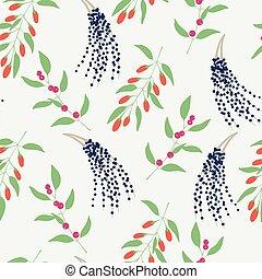 goji, roślina, gałęzie, barwny, próbka, seamless, camu, tło., wektor, acai, camu, bez końca