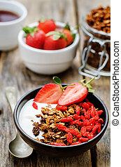 goji, yogurt, paglia, noci, granola, fresco, colazione, bacche