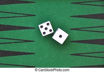 gokken, tafel., groene, dobbelsteen, twee