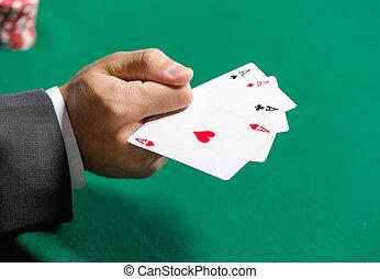 gokker, kaarten, 4, azen, spelend, optredens