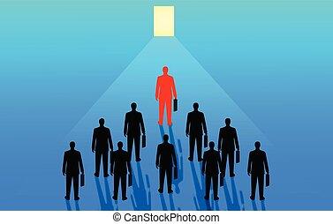 gol, handlowy, biznesmeni, ultimate, success., otwarty, awans, drzwi, organizacyjny, ubiegając