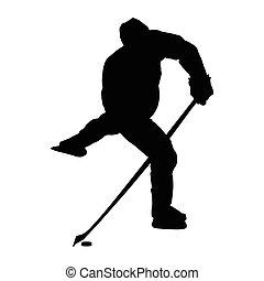 gol, krążek, odizolowany, lód, silhouette., gracz, wektor, ...