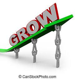 gol, ludzie, osiąganie, -, wzrost, teamwork, przez, rosnąć