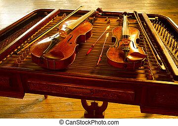 gol, música instrumento, cadeia, dois