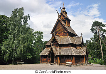 Gol stave church in Folks museum Oslo, old wooden church