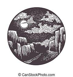 gola, illuminante, strada, luna