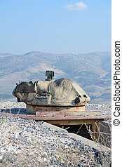 Old turret on the fortifications in the Golan Heights on the border with Syria