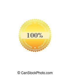 100 percent guarantee gold seal sign symbol vector