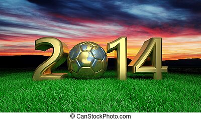 Gold 2014 with gold soccer ball on grass