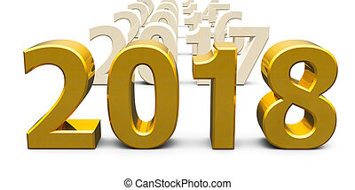Gold 2018 come represents the new year 2018, three-...