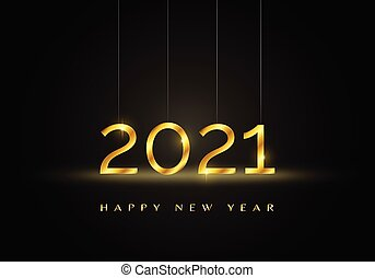 Gold 2021 Happy New Year background.