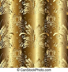 Gold 3d Baroque Damask seamless pattern. Vector floral backgroun