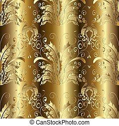 Gold 3d Baroque Damask seamless pattern. Vector floral backgroun