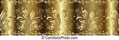Gold 3d Baroque seamless border pattern.