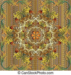 Gold 3d Baroque vector seamless mandala pattern.