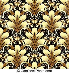 Gold 3d Damask seamless pattern.