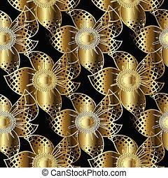 Gold 3d flowers seamless pattern.