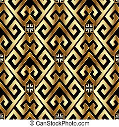 Gold 3d greek seamless pattern.