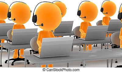 Gold men with headsets and computers. Call center, tele marketing, IT service etc conepts