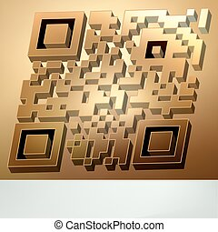 Gold 3D qr code for item in sale. EPS 8