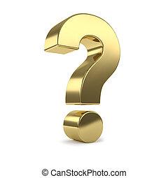 gold 3d question mark - Gold 3d question mark, isolated on ...