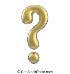 gold 3d question mark isolated on white background