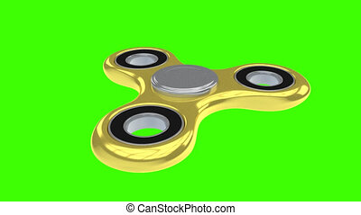 Gold 3d render model of fidget spinner rotating on green...