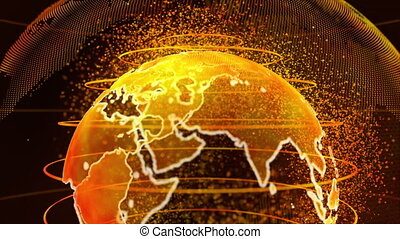 Gold 3D rendering of earth technology, business and communications background