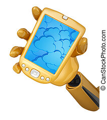 Gold 3d robotic hand hold a gold mobile phone with 3d cloud computing icon background. Including clipping path