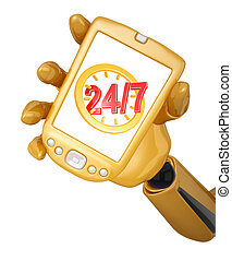 gold pda with twenty four hour seven days a week service...