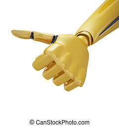 Gold 3d robotic with thumb up
