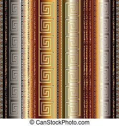 Gold 3d striped greek seamless border pattern.