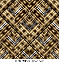 Gold 3d striped seamless pattern.